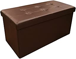 Sodynee Faux Leather Folding Shoe Storage Ottoman Cubes Bench, Foot Rest Stool Seat Table Pouf Footstools and Ottomans 43...