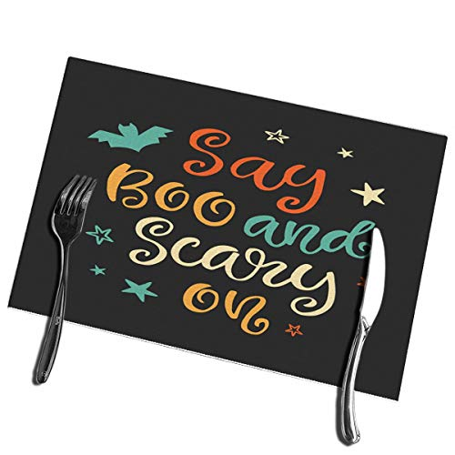 Not So Scary Halloween Party Map (bneegxg Dining Table Placemats Set of 6 Say Boo Scary Halloween Party Ink Modern Heat-Resistant)