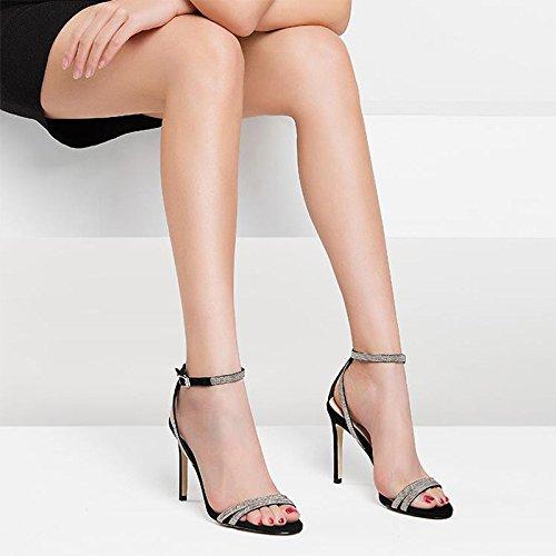 Dermica Con Delle Alto Un Sandali dimensioni Donna Nero E Tacco Estate Colore Di Donna 37 Paio E Da Pelle Da Sandali JIANXIN Sexy Scarpe In qXwx588