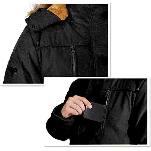 Homme Parka Hiver Blousons Chaud Manteau Fourrure Capuche Veste Militaire Blouson Multi-Poche Men Winter Casual Jacket 5