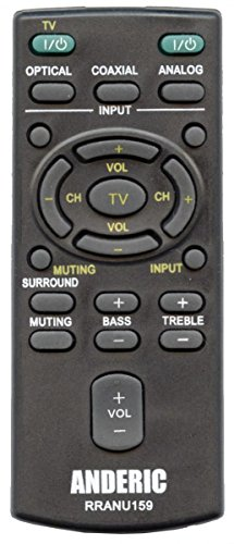 Sony RM-ANU159 Replacement Anderic RRANU159 Remote Control for Sony Sound Bar Systems HT-CT180, HT-CT60, HT-CT780, SA-CT60, SS-WCT60, RM-ANU159