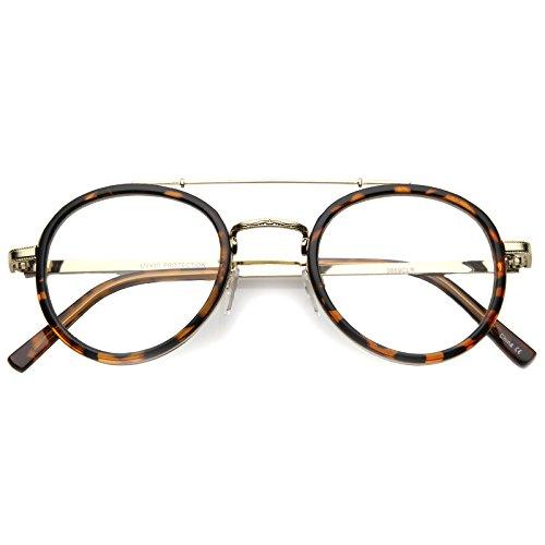 zeroUV - Retro Slim Metal Frame Crossbar Clear Lens Round Aviator Glasses 47mm (Tortoise-Gold / - Black Bar Glasses