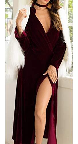 Long with Wine Sleeve Neck Belt Velvet Long Jaycargogo Dress V Womens Wrap Red p4wzqwxa0