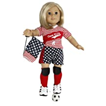 BUYS BY BELLA Go Team USA Soccer Outfit for 18 Inch Dolls Like American Girl