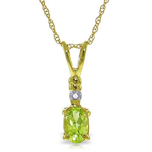 ALARRI 0.46 Carat 14K Solid Gold Love Murmur Peridot Diamond Necklace with 22 Inch Chain Length by ALARRI