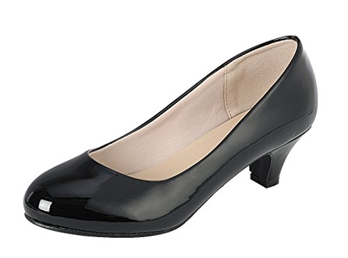 - Cambridge Select Women's Classic Dress Formal Round Toe Low Mid Heel Pump (8 B(M) US, Black)