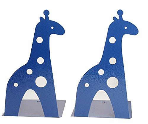 Cute Cartoon Giraffe Shape Nonskid Metal Bookends For Kids Gift Decoration(Blue)