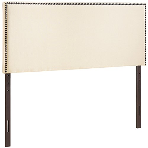 Modway Region Linen Fabric Upholstered Full Headboard in Ivory with Nailhead Trim