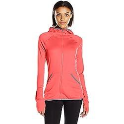 Hanes Women's Sport Performance Fleece Full Zip Hoodie, Razzle Pink Heather/Dada Grey Binding, M