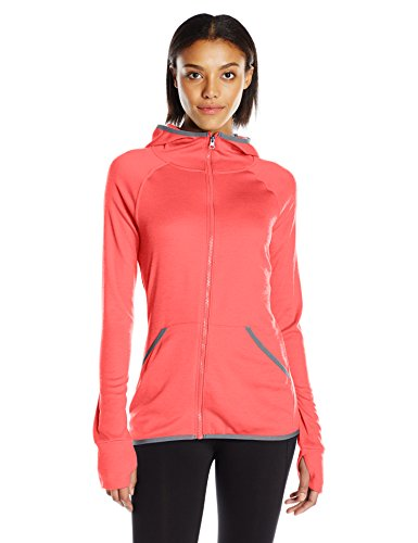 Hanes Women's Sport Performance Fleece Full Zip Hoodie, Razzle Pink Heather/Dada Grey Binding, L (Hoody Performance)