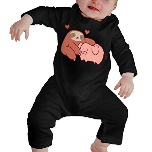 Sloth Loves Pig Toddler Baby Boy Girl Long Sleeve Baby Newborn Boy Superman Bodysuits Onesies Black ()