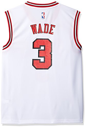 adidas NBA Men's Chicago Bulls Dwayne Wade Replica Player Home Jersey, Large, White (Mens Bulls Chicago Jerseys)