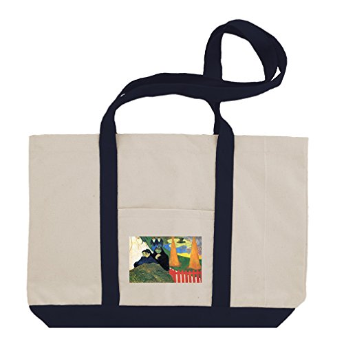 Old Maids Winter Garden Arles (Gauguin) Cotton Canvas Boat Tote Bag - Navy (Canvas Arles)