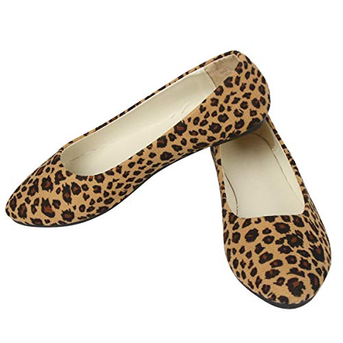 Women Cute Slip-On Ballet Shoes Leopard Print Flats Soft Solid Classic Pointed Toe Flats 40