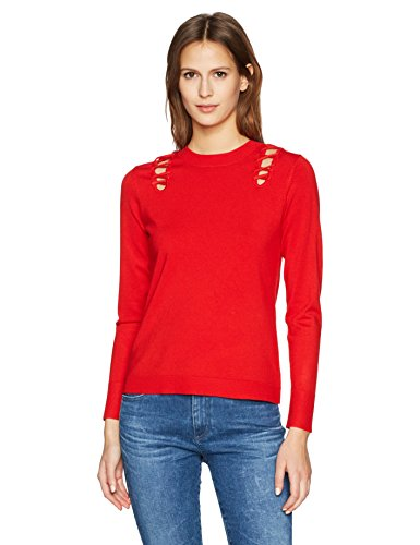 525 America Women's Crew Neck Laced Shoulder Detail Sweater, Bright red, Large
