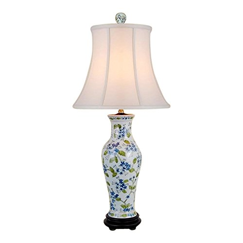 Chinese Porcelain Green Blue White Vase Floral Motif Table Lamp 29'' by Asian Style Furnishing