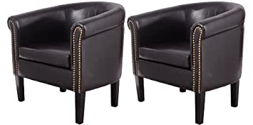 HomCom Nailhead Faux Leather Tub / Barrel Club Arm Chair   Black   2 PACK
