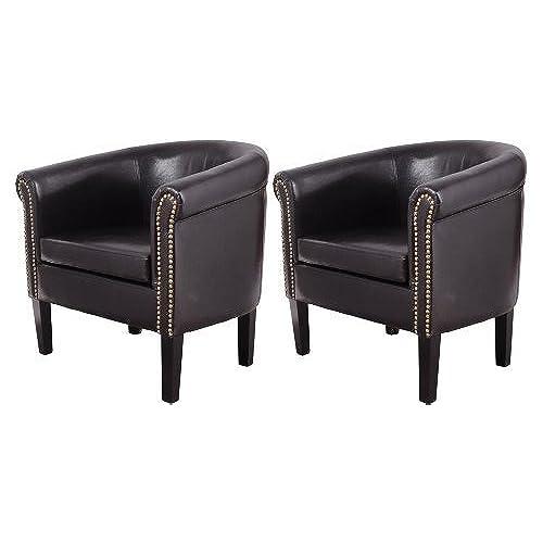 HomCom Nailhead Faux Leather Tub/Barrel Club Arm Chair   Black   2 PACK