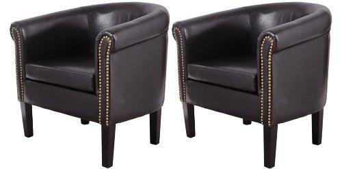 HomCom Nailhead Faux Leather Tub / Barrel Club Arm Chair