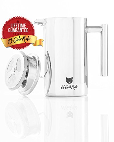Stainless Steel French Press Coffee Maker - Double Wall Insulated - Tea and Coffee Press - 34 oz /8 Cup - The Cat Logo = Quality.