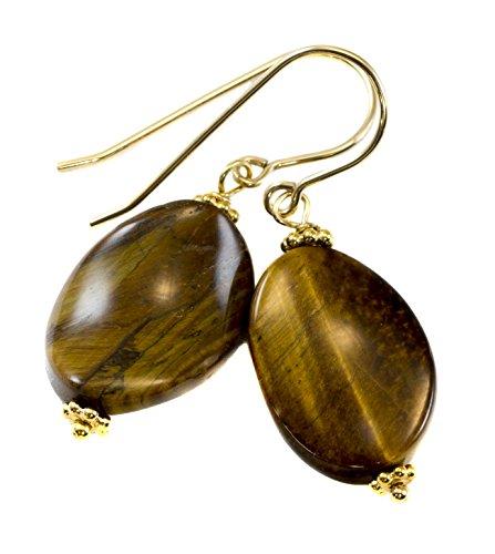 Gold Tigers Eye Earrings (14k Gold Filled Tiger's Eye Earrings Curved Oval Drops Golden Stripes)