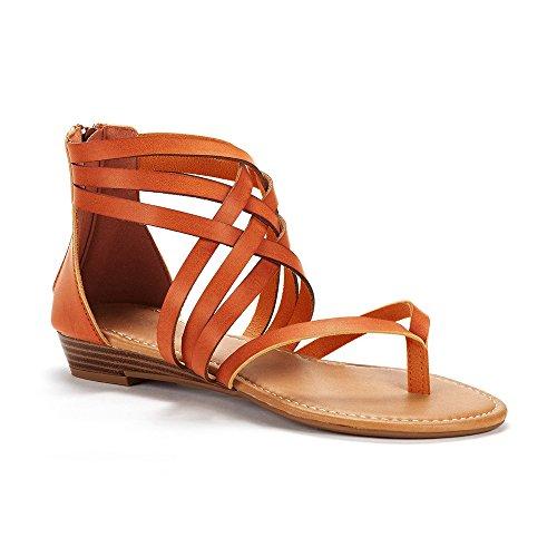 Summer Beach Sandals Thong E Ankle Strappy brown Flat Womens Gladiator Cross Criss Wrap wF8zTT1qR
