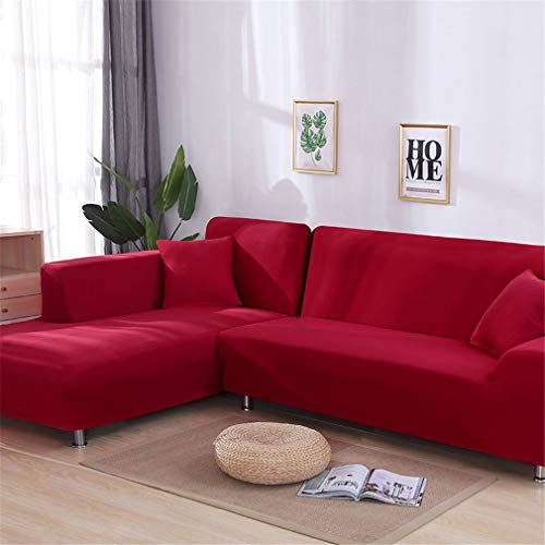 RETAINS L Shaped Sofa Cover Solid Sofa Couch Cover for Living Room Sofa Cover Slipcovers for 1/2/3/4-Seater red 2-Seater 145-185cm