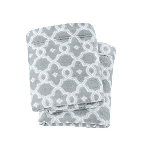 Dara Collection Super Soft Extra Plush Polar Fleece Pillowcases. Cozy, Warm, Durable, Smooth, Breathable Winter Pillowcases with Printed Pattern. by Home Fashion Designs Brand. (King, Grey)