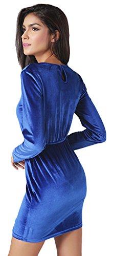 EOZY Femmes Bleu Velours à Manches Longues Robe Casual Soirée Mini Robe