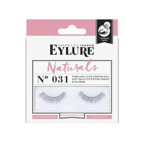 Eylure Fake Eyelashes, No. 031 Natural Look, Reusable, Adhesive Included, Tapered, 1 Pair
