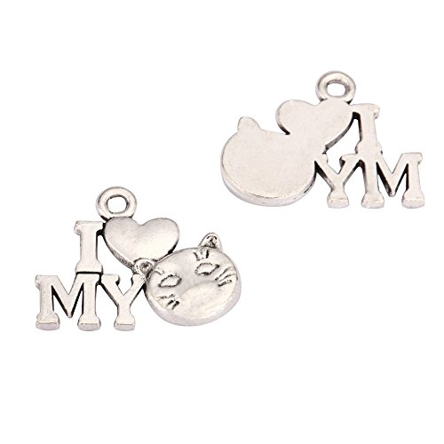 20 x I Love My Cat Charms 16x10mm Antique Silver Tone for Bracelets Necklaces Earrings #mcz779 - I Love My Cat Charm