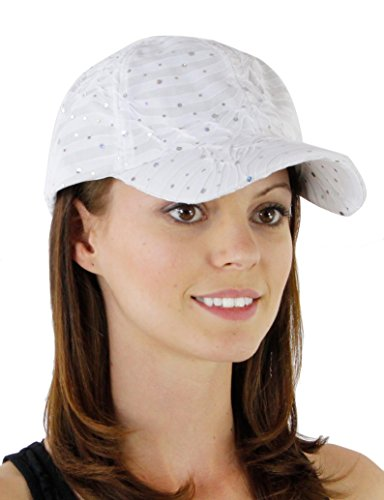 Glitter Sequin Trim Baseball Cap Style One Size - White]()