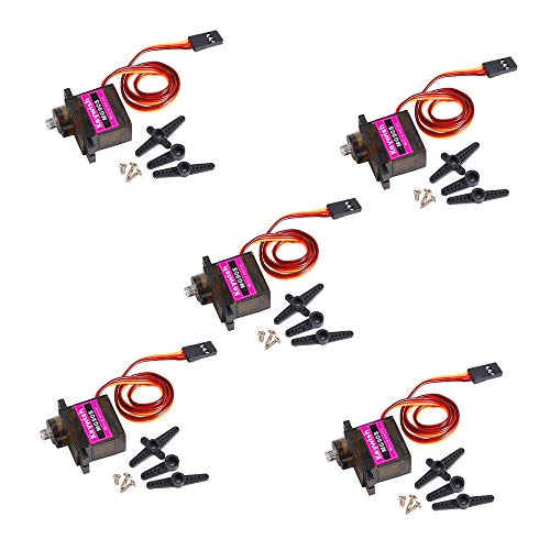Keywish 5Pcs MG90S Mini Metal Geared Micro Servo Motor 9G for RC Helicopter Plane Boat Car Trex450