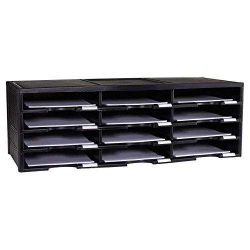 Storex 12-Compartment Literature Organizer/Document Sorter, 31.38 x 14.13 x 10.5 Inches, Black (61432U01C)