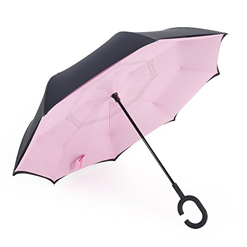 """Landrind Windproof Reverse Closing Double Layer Inverted Umbrella and Inside Out Upside Down Travel Umbrella with Comfort Grip Handle and Self-standing Top (Dia 41.5"""", Black & Pink)"""