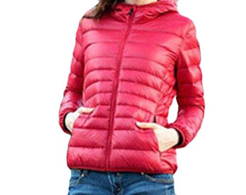 MU2M Womens Fashion Padded Warm Hoodie Zipper Short Down Coats Puffer Jacket Red