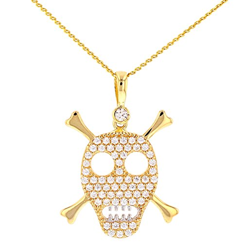 Solid 14K Gold Pirate Skull and Crossbones wih Cubic Zirconia Charm Pendant, 16