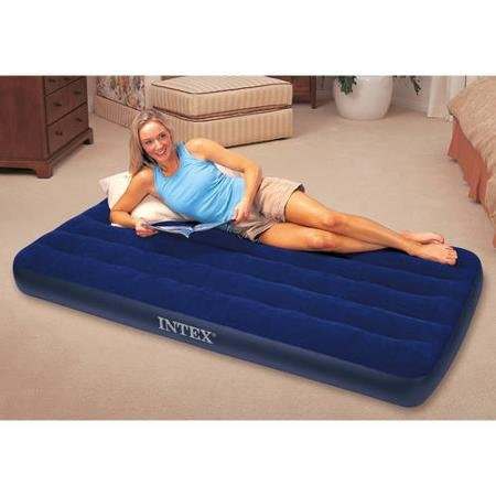 Intex Twin Classic Downy Airbed Mattress Soft and Comfortable Plush ()
