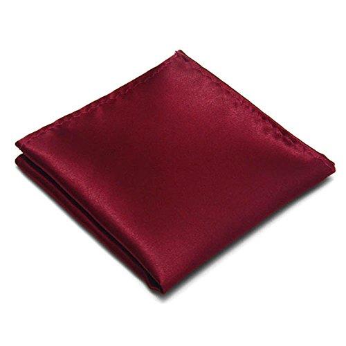 Silk Woven Wine - 22 Colors Premium Men's Handkerchief 100% Woven Silk Wedding Tuxedo Solid Pocket Square (Wine Red)