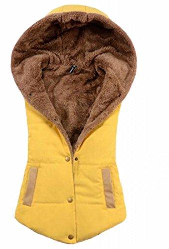Coat Fleece Womens Jacket Winter Hooded Lined Sleeveless Vest Yellow TTYLLMAO aUPwqZBq
