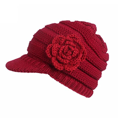 (Goddessvan Womens Hat, Women Winter Knitting Hat Berets Turban Brim Hat Cap Pile Cap (Red))