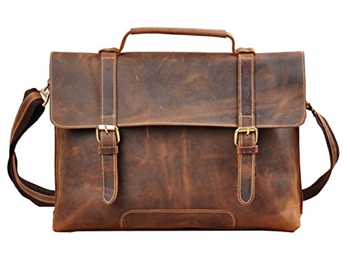 Jaxu Men's Real Leather Laptop Briefcase Shoulder Bag by Jaxu