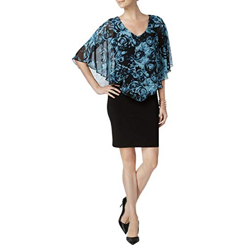 (Connected Apparel Womens Chiffon Floral Print Capelet Dress Black 8)