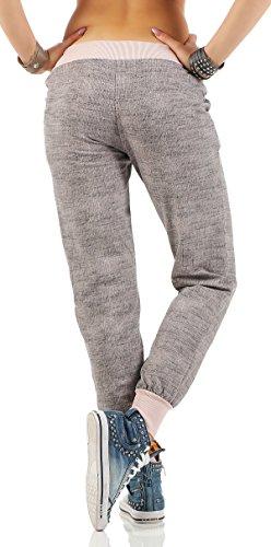 ZARMEXX de las mujeres de moda los pantalones deportivos sudor pantalones anchos novio pantalones casuales de algodón ajuste flojo Rosa