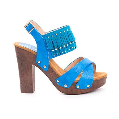 (Soho Shoes Women's Open Toe Ankle Strap Platform Fringe Wedges Blue)