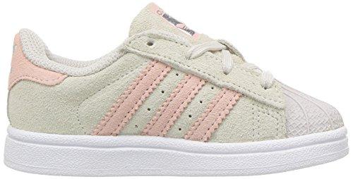 Adidas Originals Girls' Superstar I Sneaker, Pearl Grey/Ice Pink/Ice Pink, 9 Medium US Toddler