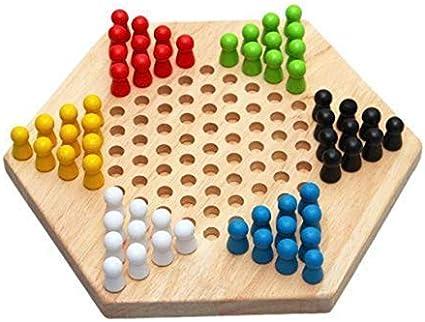 Shuxinmd Madera Chino Damas Tradicional Hexagonal Juego de Estrategia Juego de Mesa para el Todo Familia: Amazon.es: Juguetes y juegos