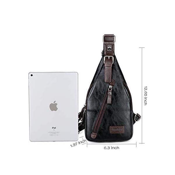 Alena Culian Sling Backpack Men Leather Chest Bag Crossbody Shoulder Bag For Men(black) 15