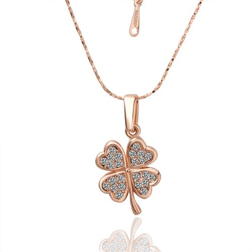 Four Leaf Clover Necklace Chain ——18K Rose Golden Valentine's Day gift Christmas (Gold Clover Pendant)