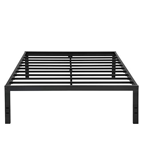 PrimaSleep 18 Inch Tall Metal Bed Frame with Dura Steel Slat NON-SLIP Mattress Platform Foundation APS,Queen,Black